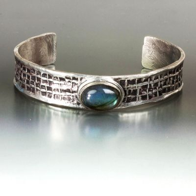 Labradorite and Textured Silver Cuff Bracelet