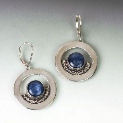 Silver and Kyanite Hoop Earrings