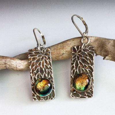 Silver Rectangle Earrings with Dichroic Glass