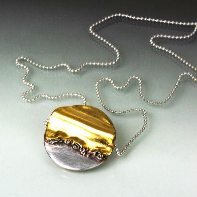 Sun Rise Silver and Gold Pendant