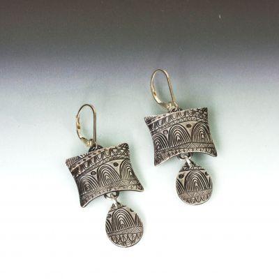 Silver Tribal Textured Earrings