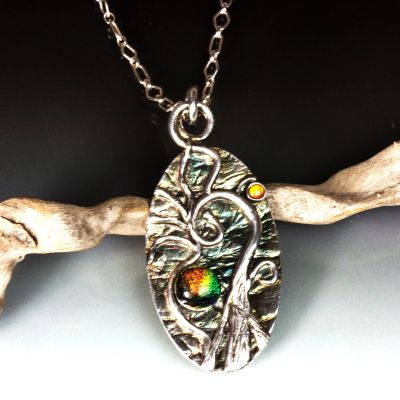 Silver Oval Tree Pendant with Dichroic Glass and Citrine