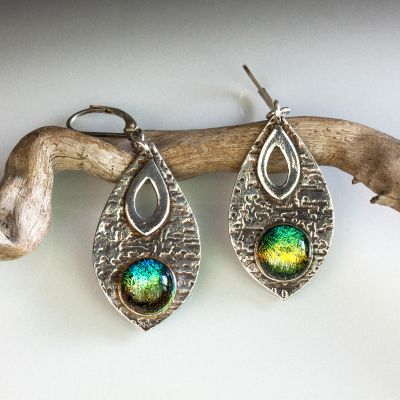 Silver Teardrop Earrings with Dichroic Glass