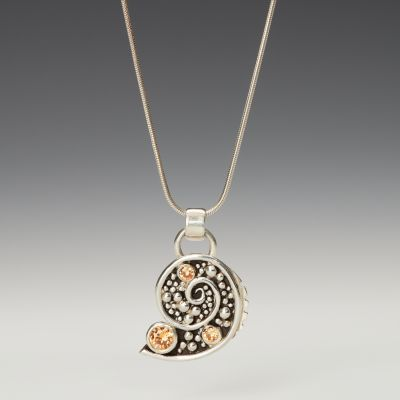 Silver Spiral Mosaic Shell Shape Pendant with Champagne CZ
