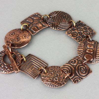 Copper Link Bracelet with Textures
