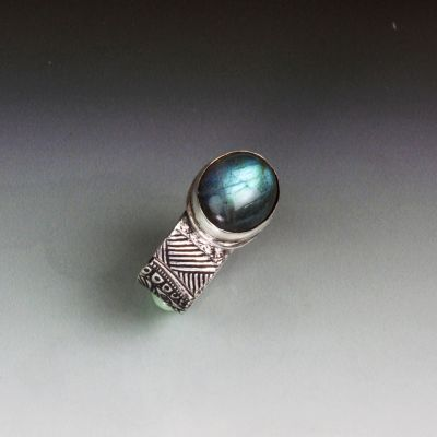 Labradorite and Textured Silver Wide Band Ring