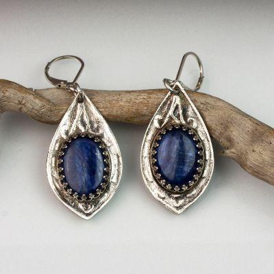Silver and Kyanite Teardrop Earrings