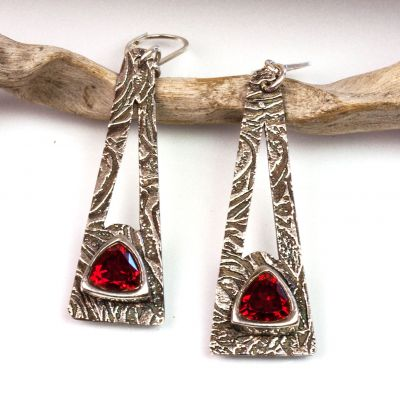Silver Textured Earrings with Hessonite Garnet CZ