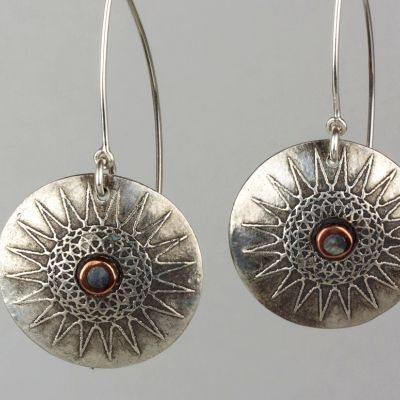 Silver and Copper Sun Earrings