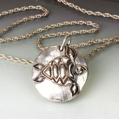 Silver Om and Turtle Pendant