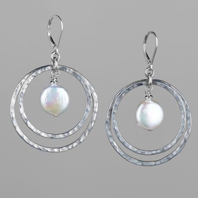 Hammered Silver Hoops With Coin Pearl