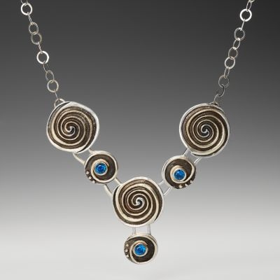 Silver Double Spiral Necklace with Blue Spinel