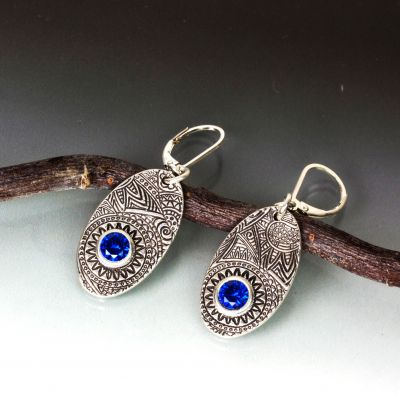 Textured Silver Oval with Blue Spinel Earrings