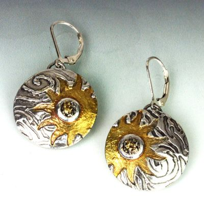 Silver and Gold Sun Earrings
