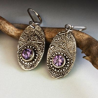 Silver Oval Earrings With Alexandrite