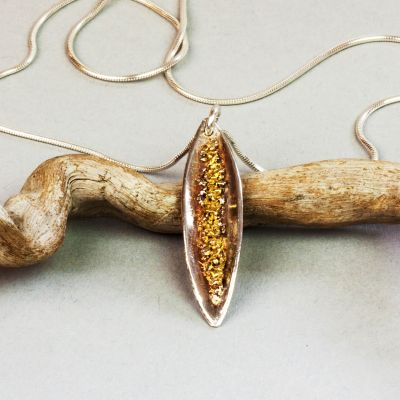 Silver and Gold Pod Shape Pendant