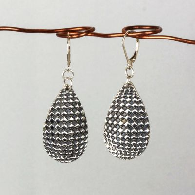 Silver Textured Teardrop Earrings with Raised Dots