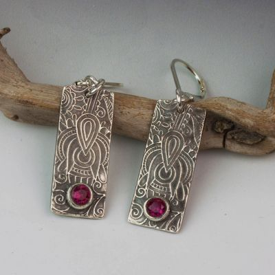 Silver Rectangle Earrings with Sparkling Red CZ