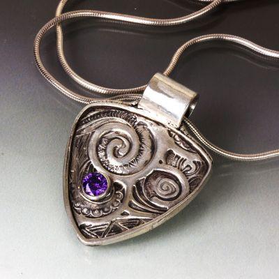 Silver Swirls Pendant with Amethyst Cubic Zirconia