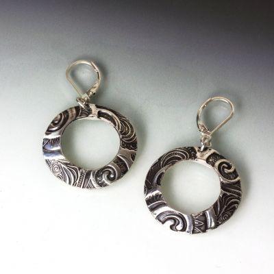 Silver Spiral Hoop Earrings
