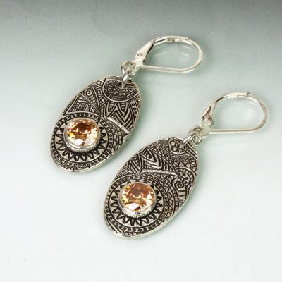 Silver Textured Earrings with Champagne CZ
