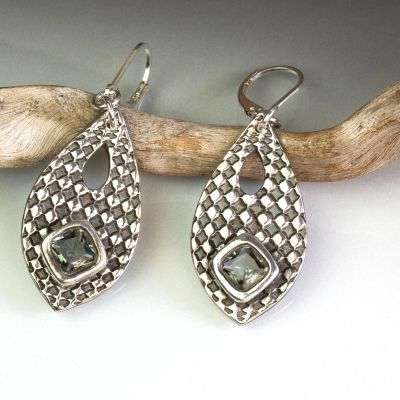 Silver Teardrop Earrings with Faceted Grey Nano Stones