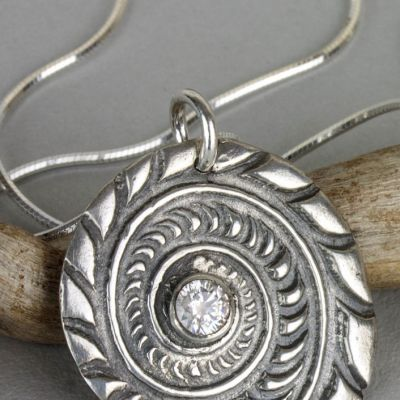 Sterling Ammonite Pendant with Clear Cubic Zirconia