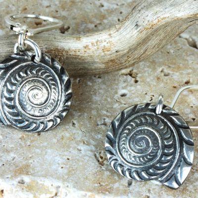 Silver Shell Ammonite Earrings