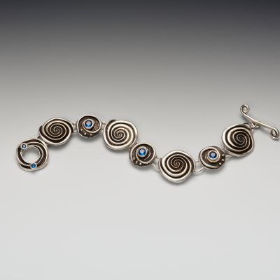 Silver Double Spiral Bracelet with Blue Spinel and Toggle Clasp