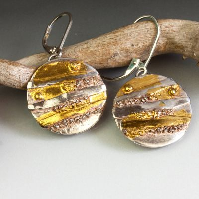 Layered Gold and Silver Round Earrings