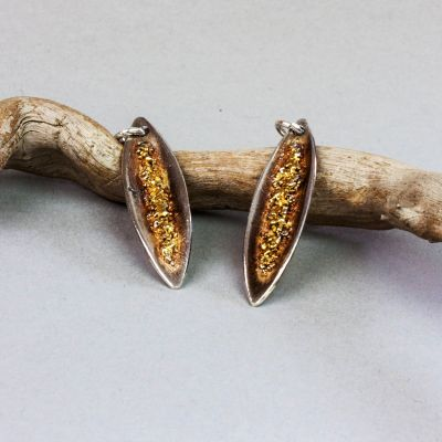 Silver and Gold Pod Shape Earrings