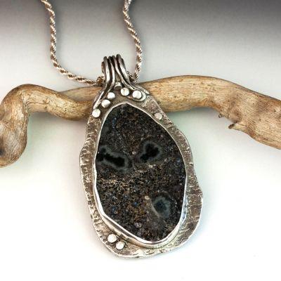 Black Druze Agate Silver Pendant