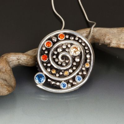 Spiral Mosaic Pendant with Champagne Fire Agate and Citrine CZ and Blue Spinel